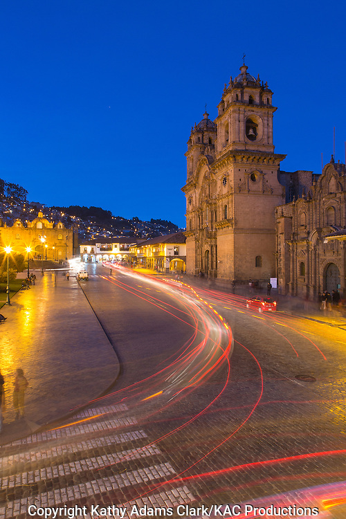 Cusco at night in the Plaza de Armas, Peru.