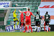 Plymouth Argyle goalkeeper Luke McCormick is called into action to clear a dangerous ball during the Sky Bet League 2 match between Plymouth Argyle and York City at Home Park, Plymouth, England on 28 March 2016. Photo by Graham Hunt.