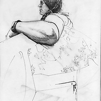 Sketchbook drawing of female sitting figure