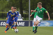 Armin Saric of of Bosnia and Herzegovina (20) takes on Nathan Collins of Republic of Ireland (5) during the UEFA European Under 17 Championship 2018 match between Bosnia and Republic of Ireland at Stadion Bilino Polje, Zenica, Bosnia and Herzegovina on 11 May 2018. Picture by Mick Haynes.