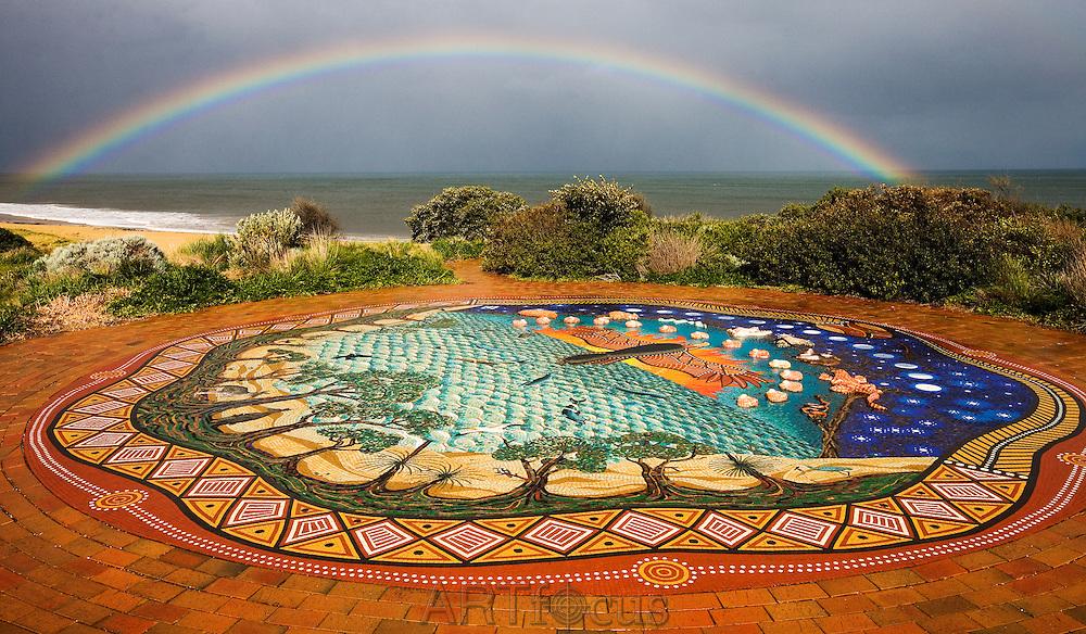 sundial and rainbow at Fisherman's Beach, Torquay