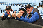 A Dad and his 2 sons from Bath during the Gallagher Premiership Rugby match between Wasps and Bath Rugby at the Ricoh Arena, Coventry, England on 2 November 2019.