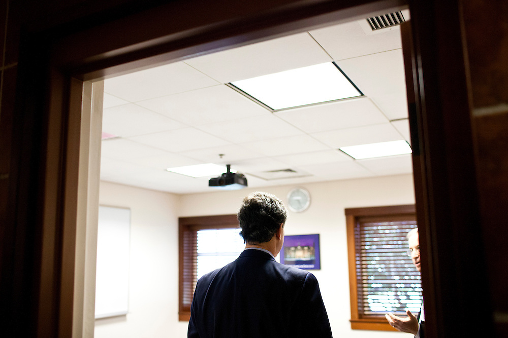 "Republican presidential candidate Rick Santorum waits in a green room before participating in ""The Electorate and the Economy"" forum at St. Anselm College on Saturday, January 7, 2012 in Manchester, NH. Brendan Hoffman for the New York Times"