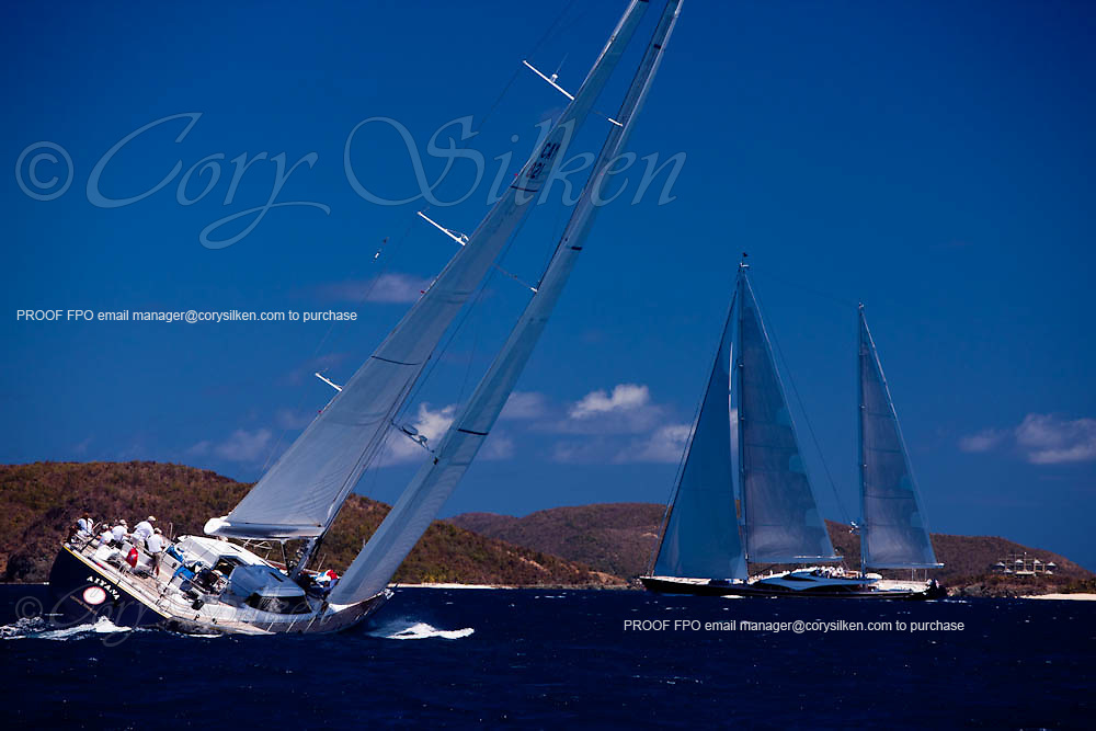 aiyana and twizzle sailing in the Caribbean Superyacht Regatta and Rendezvous, race 1.