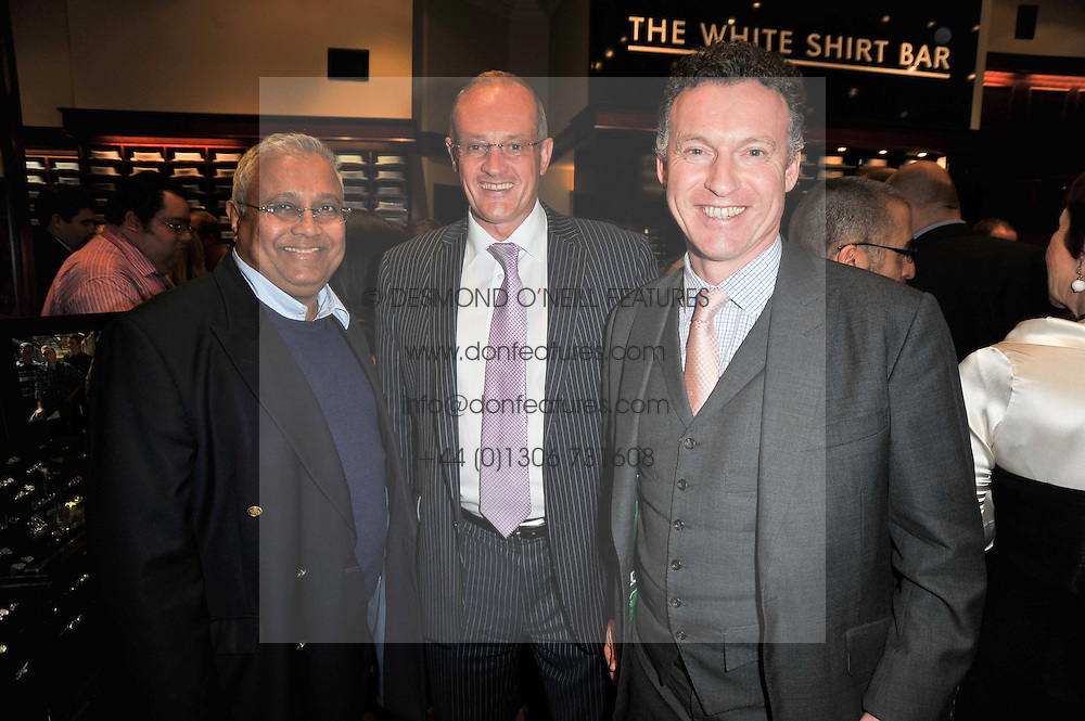 Left to right, BIPIN DESAI, racehorse owner RICHARD WEBB and racehorse owner CHRIS GILES at a party to celebrate the paperback publication of Lucky Break by leading trainer Paul Nicholls held at Thomas Pink, 85 Jermyn Street, London on 23rd February 2011.