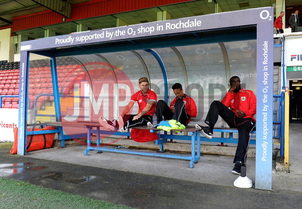 Bristol City's Wes Burns, Bristol City's Bobby Reid and Bristol City's Karleigh Osborne sit on the bench at Rochdale, Spotland Stadium - Photo mandatory by-line: Dougie Allward/JMP - Mobile: 07966 386802 23/08/2014 - SPORT - FOOTBALL - Manchester - Spotland Stadium - Rochdale AFC v Bristol City - Sky Bet League One