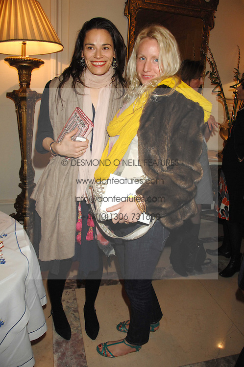 Left to right, SHANI BLICH and SOPHIE ANDERSON at a party to celebrate the publication of The End of Sleep by Rowan Somerville held at the Egyptian Embassy, London on 27th March 2008.<br />