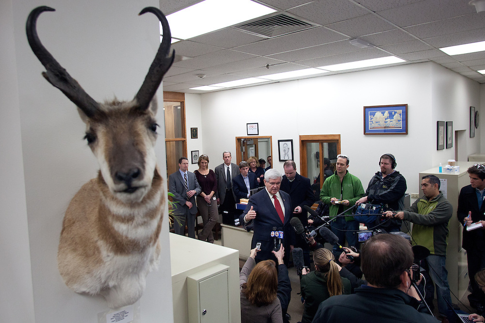 NEWPORT, NH - JANUARY 06: A stuffed and mounted antelope head is pictured on the wall as Republican presidential candidate and former House Speaker Newt Gingrich (C) speaks to members of the media during a visit to the Ruger Firearms manufacturing facility in Newport, New Hampshire on January 06, 2012. After finishing 4th in the Iowa Caucus, Gingrich continued his campaign in New Hampshire for the upcoming primary. (Photo by Matthew Cavanaugh/Getty Images)