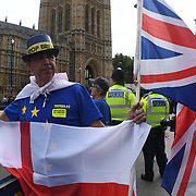 Pro-Brexit count anti-Brexit holding placard to Block Parliament & the Brexit Betrayal! march to Westminster, London, UK. 5th September 2018.