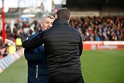 Brentford Manager / Head Coach Dean Smith and Notts County manager Kevin Nolan shake hand before kick off during the The FA Cup 3rd round match between Brentford and Notts County at Griffin Park, London, England on 6 January 2018. Photo by Andy Walter.