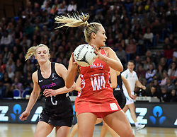 England's Chelsea Pitman, right, plays in front of New Zealand's Shannon Francois in the Taini Jamison Trophy netball series match at Te Rauparaha Arena, Porirua, New Zealand, Thursday, September 07, 2017. Credit:SNPA / Ross Setford  **NO ARCHIVING**