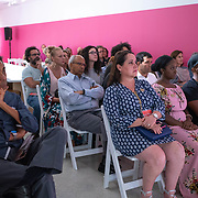 JULY 19, 2018---MIAMI, FLORIDA---<br /> Audience while Cynthia Smith (Cooper-Hewitt, Smithsonian Design Museum, Curator of By the People: Designing a Better America), gives a lecture in Miami Dade College's Freedom Tower Museum.<br /> (Photo by Angel Valentin/Freelance)