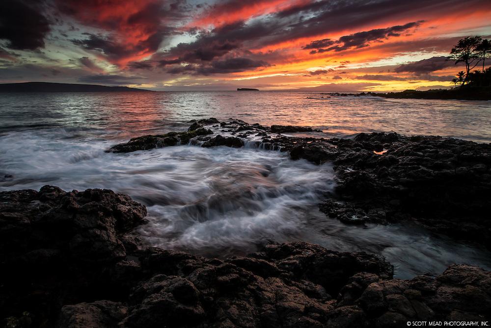 Ahihi Twilight swirling water around lava flow in Ahihi Kinau Reserve, Maui, Hawaii