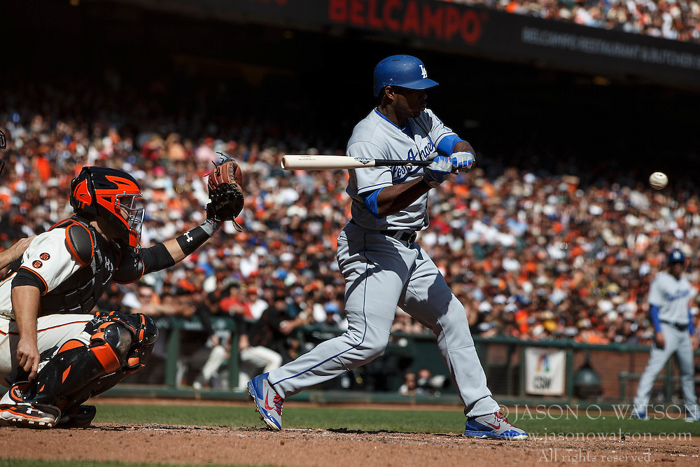 SAN FRANCISCO, CA - OCTOBER 02: Yasiel Puig #66 of the Los Angeles Dodgers at bat against the San Francisco Giants during the fourth inning at AT&T Park on October 2, 2016 in San Francisco, California. The San Francisco Giants defeated the Los Angeles Dodgers 7-1. (Photo by Jason O. Watson/Getty Images) *** Local Caption *** Yasiel Puig
