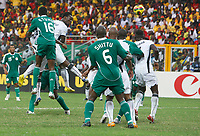 Photo: Steve Bond/Richard Lane Photography.<br />Ghana v Nigeria. Africa Cup of Nations. 03/02/2008. Michael Essien (2nd L) rises to power home the equaliser