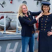 NLD/Amsterdam/20130913 - 2de Kamerlid Carla Dik van de Christenunie in een kostuum van ontwerpster Monique Collignon gemaakt met afgedankte marineuniformen