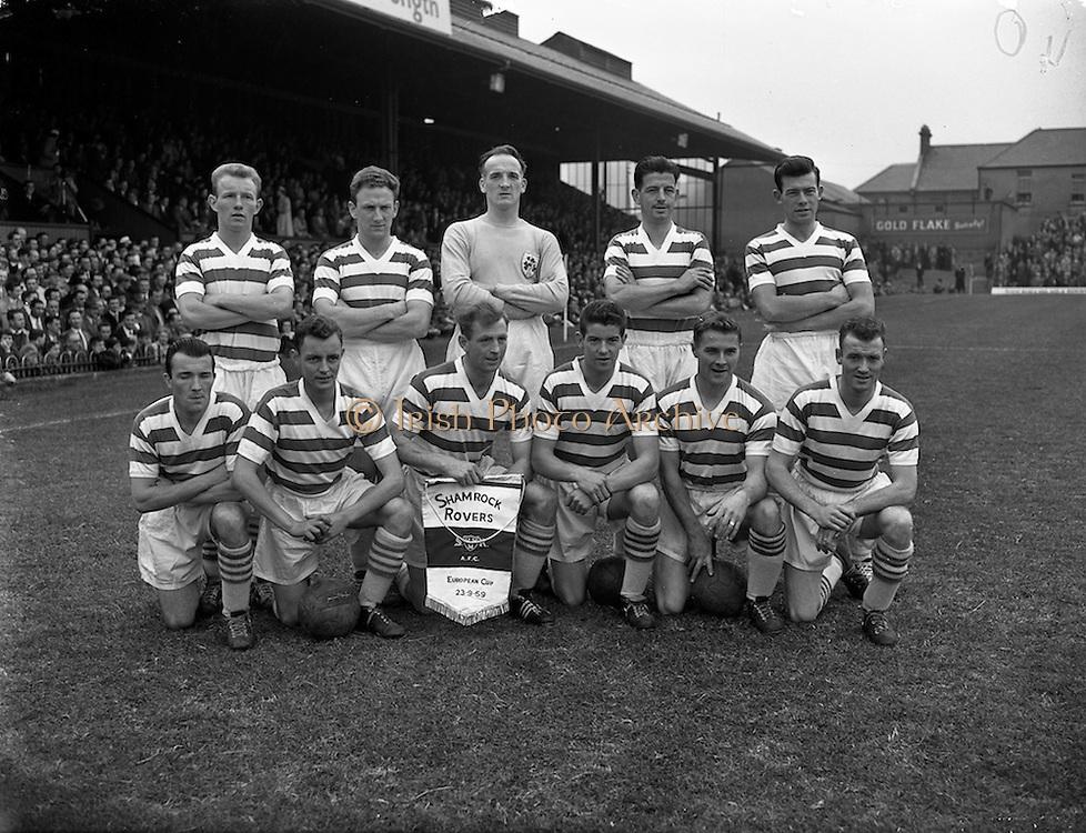 23/9/1959<br /> 9/23/1959<br /> 23 September 1959 <br /> Soccer, football: European Cup, Shamrock Rovers v Nice at Dalymount Park, Dublin. The Shamrock Rovers Team.