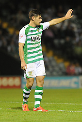 Yeovil Town's Joe Edwards  - Photo mandatory by-line: Alex James/JMP - Tel: Mobile: 07966 386802 27/08/2013 - SPORT - FOOTBALL - Huish Park - Yeovil - Yeovil Town V Birmingham City -  Capital One Cup - Round 2