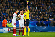 Sevilla midfielder, on loan from Manchester City,  Samir Nasri (10) is booked and receives a caution and a yellow card  during the Champions League round of 16, game 2 match between Leicester City and Sevilla at the King Power Stadium, Leicester, England on 14 March 2017. Photo by Simon Davies.