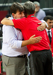 Head coach of Slovenia Memi Becirovic and Head coach  of Turkey Bogdan Tanjevic after the quarter-final basketball match between National teams of Turkey and Slovenia at 2010 FIBA World Championships on September 8, 2010 at the Sinan Erdem Dome in Istanbul, Turkey.  Turkey defeated Slovenia 95 - 68. (Photo By Vid Ponikvar / Sportida.com)
