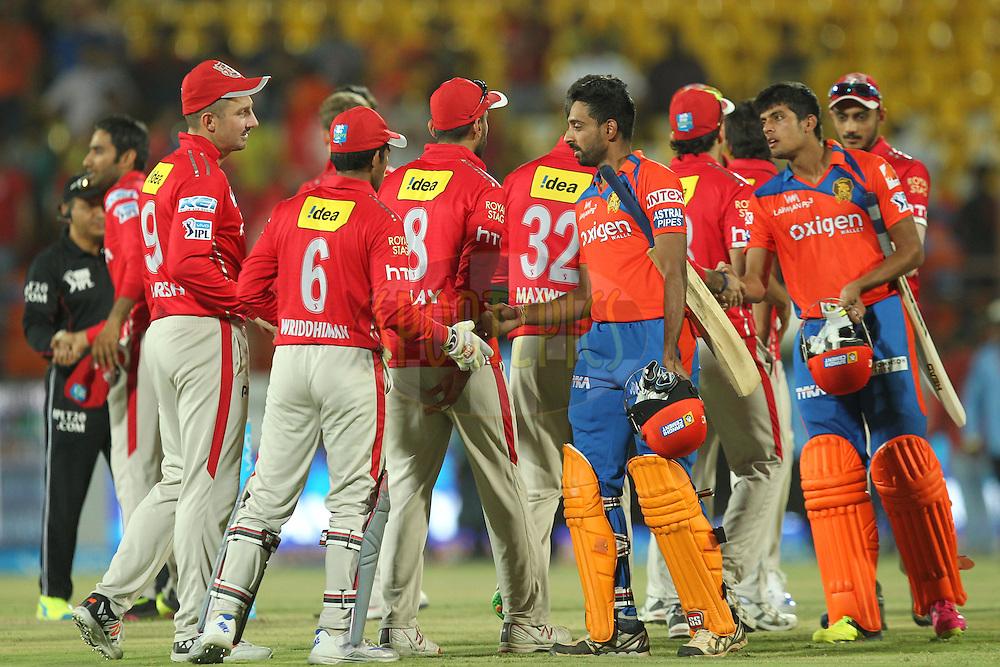 Team Kings XI Punjab won the match 28 of the Vivo IPL 2016 ( Indian Premier League ) between the Gujarat Lions and the Kings XI Punjab held at Saurashtra Cricket Association Stadium, Rajkot, India on the 1st May 2016Photo by Prashant Bhoot / IPL/ SPORTZPICS