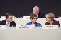 22 NOV 2019, LEIPZIG/GERMANY:<br /> Paul Ziemiak (L), CDU Generalsekretaer, und Annegret Kramp-Karrenbauer (M), CDU Bundesvorsitzende und Bundesverteidigungsministerin, und Angela Merkel (R), CDU, Bundeskanzlerin, im Gespraech, CDU Bundesparteitag, CCL Leipzig<br /> IMAGE: 20191122-01-239<br /> KEYWORDS: Parteitag, party congress, Gespräch