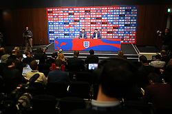A general view of England Manager Gareth Southgate (left) and England's Senior Communications Manager Andy Walker during the press conference at Wembley Stadium, London.