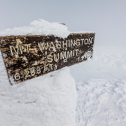 Rime ice on the summit of New Hampshire's Mount Washington in winter.