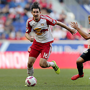 HARRISON, NEW JERSEY- OCTOBER 16:  Sacha Kljestan #16 of New York Red Bulls in action while challenged by Nicolai Naess #24 of Columbus Crew during the New York Red Bulls Vs Columbus Crew SC MLS regular season match at Red Bull Arena, on October 16, 2016 in Harrison, New Jersey. (Photo by Tim Clayton/Corbis via Getty Images)