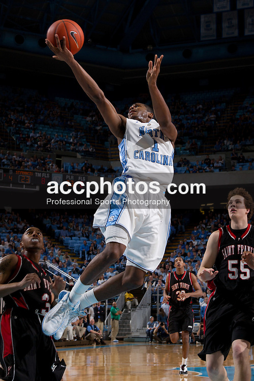 CHAPEL HILL, NC - JANUARY 02: Dexter Strickland #1 of the North Carolina Tar Heels jumps to make a basket while playing against the St. Francis Red Flash on January 02, 2011 at the Dean E. Smith Center in Chapel Hill, North Carolina. North Carolina won 54-103. (Photo by Peyton Williams/North Carolina/Getty Images) *** Local Caption *** Dexter Strickland