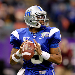Dec 20, 2009; New Orleans, LA, USA; Middle Tennessee State Blue Raiders quarterback Dwight Dasher (9) looks to throw during the second half of the 2009 New Orleans Bowl at the Louisiana Superdome. Middle Tennessee State defeated Southern Miss 42-32. Mandatory Credit: Derick E. Hingle-US PRESSWIRE