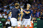Andy Murray of Great Britain & Jamie Murray of Great Britain celebrate winning a point during the 2016 Davis Cup Semi Final between Great Britain and Argentina at the Emirates Arena, Glasgow, United Kingdom on 17 September 2016. Photo by Craig Doyle.