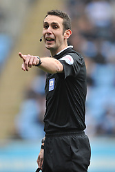 ADAM ARMSTRONG COVENTRY CITY, BATTLES WITH FLEETWOODS VICTOR NIRENNOLD, David Coote Referee, Coventry City v Fleetwood Town Ricoh Arena, Sky Bet League One Saturday 27th February 2016