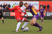 Ian Gayle and Danny Wright during the Vanarama National League match between Welling United and Cheltenham Town at Park View Road, Welling, United Kingdom on 5 March 2016. Photo by Antony Thompson.