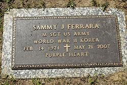 31 August 2017:   Veterans graves in Park Hill Cemetery in eastern McLean County.<br /> <br /> Sammy J Ferrara  Master Sergeant  US Army  World War II Korea  Feb 14 1921  May 21 2007  Purple Heart