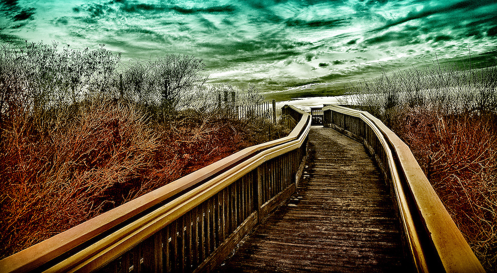 Footbridge access to the beach in Cape May, New Jersey.