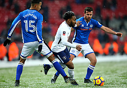 Danny Rose of Tottenham Hotspur takes on Joe Thompson and Joe Rafferty of Rochdale - Mandatory by-line: Robbie Stephenson/JMP - 28/02/2018 - FOOTBALL - Wembley Stadium - London, England - Tottenham Hotspur v Rochdale - Emirates FA Cup fifth round proper