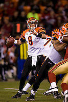 15 December 2007: Quarterback Carson Palmer of the Cincinnati Bengals passes the ball against the San Francisco 49ers during the first half of the 49ers 20-13 victory over the Bengals at Monster Park in San Francisco.