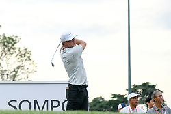 October 13, 2018 - Kuala Lumpur, Malaysia - Keith Mitchell of the United States plays his shot on the 1st green during round three of the CIMB Classic at TPC Kuala Lumpur on 13 October, 2018 in Kuala Lumpur, Malaysia  (Credit Image: © Chris Jung/NurPhoto via ZUMA Press)