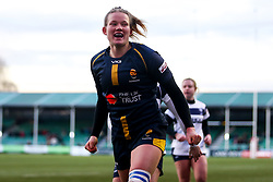 Carys Cox of Worcester Warriors Women celebrates scoring a try - Mandatory by-line: Robbie Stephenson/JMP - 01/12/2019 - RUGBY - Sixways Stadium - Worcester, England - Worcester Warriors Women v Bristol Bears Women - Tyrrells Premier 15s