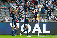 Melbourne Victory midfielder Keisuke Honda (4) celebrates as he scores the opening goal at the Hyundai A-League Round 6 soccer match between Melbourne Victory and Western Sydney Wanderers at Marvel Stadium in Melbourne.