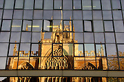Hull, East Yorkshire..Holy Trinity Church reflected in an office building in Lowgate..Picture:Sean Spencer/hullnews.co.uk 01482 210267/07976 433960.www.hullnews.co.uk.©Sean Spencer/Hull News & Pictures Ltd.NUJ recommended terms & conditions apply. Moral rights asserted under Copyright Designs & Patents Act 1988. Credit is required. No part of this photo to be stored, reproduced, manipulated or transmitted by any means without permission. .
