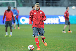 04.03.2014, AFG Arena, St. Gallen, SUI, Training der Schweizer Nationalmannschaft, vor dem Testspiel gegen Kroatien, im Bild Valon Behrami (SUI) // during a practice session of swiss national football team prior to the international frindley against Croatia at the AFG Arena in St. Gallen, Switzerland on 2014/03/04. EXPA Pictures © 2014, PhotoCredit: EXPA/ Freshfocus/ Claudia Minder<br /> <br /> *****ATTENTION - for AUT, SLO, CRO, SRB, BIH, MAZ only*****