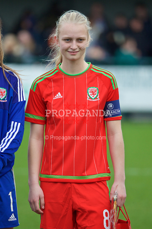 NEWPORT, WALES - Friday, April 1, 2016: Wales' captain Elise Hughes lines-up before the game against Republic of Ireland during Day 1 of the Bob Docherty International Tournament 2016 at Dragon Park. (Pic by David Rawcliffe/Propaganda)