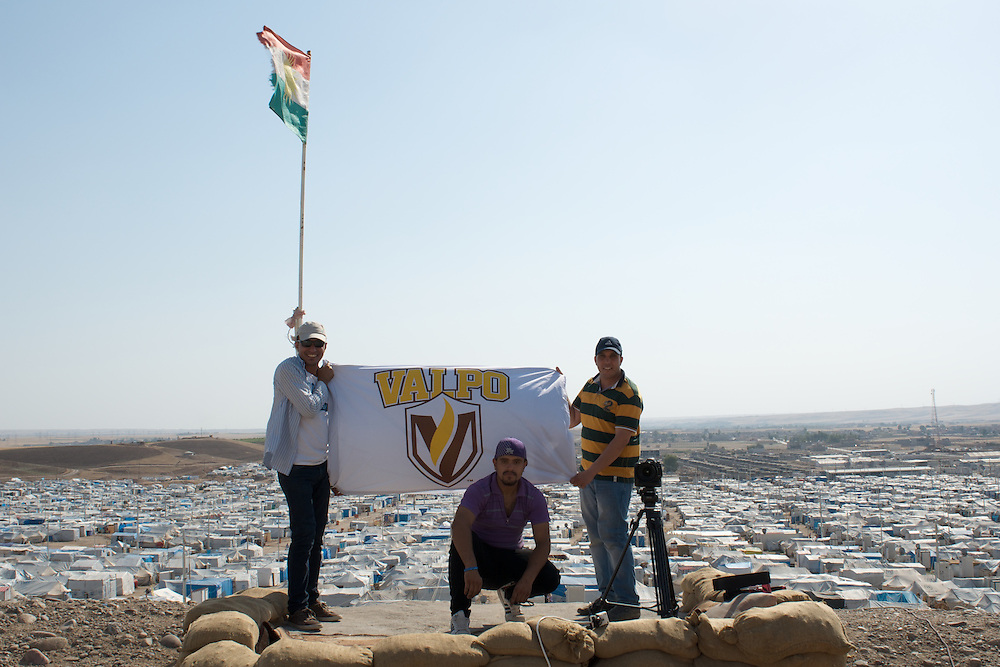 Pictured here is incoming student (MSDM) Sarhang Sherwany, left, and current MSDM student and Fulbright Scholar, Saddam Al-Zubaidi, right, in front of the Kawergosk Refugee Camp in Erbil, Kurdish Region, Iraq, where we've been filming a documentary. The person in front is a Syrian refugee who is a rap and hip-hop singer.