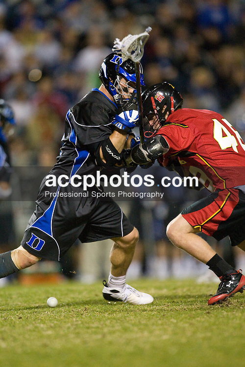 01 March 2008: Duke Blue Devils men's lacrosse defenseman Tony McDevitt (44) in a 15-7 win over the Maryland Terrapins at Koskinen Stadium in Durham, NC