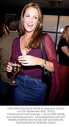 LADY IONA DOUGLAS-HOME at a party in London on 17th September 2002.<br />PDG 2