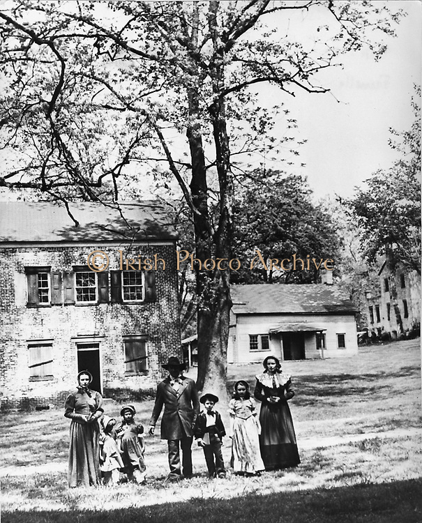 American family in  street circa 1865