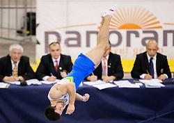 Rok Klavora of Slovenia competes in the Floor Exercise during Final day 1 of Artistic Gymnastics World Challenge Cup Ljubljana, on April 19, 2014 in Hala Tivoli, Ljubljana, Slovenia. Photo by Vid Ponikvar / Sportida