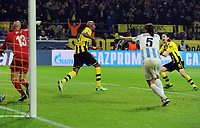 Fotball<br /> Tyskland<br /> 09.04.2013<br /> Foto: Witters/Digitalsport<br /> NORWAY ONLY<br /> <br /> 3:2 Jubel v.l. Torwart Carlos Kameni, Torschuetze Felipe Santana, Martin Demichelis, Neven Subotic (Dortmund)<br /> Fussball Champions League, Viertelfinale Rueckspiel, Borussia Dortmund - FC Malaga 3:2